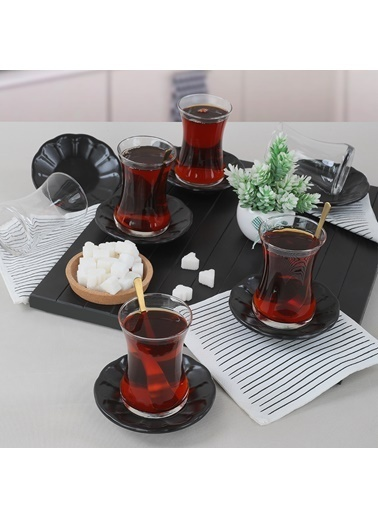 Keramika Keramika Mat Siyah Taç Çay Takımı 12 Parça 6 Kişilik Renkli